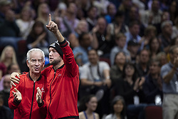 September 22, 2018 - Chicago, Illinois, U.S - Team World coach JOHN MCENROE and JACK SOCK of the United States celebrate JOHN ISNER'S point during the first singles match between Team Europe and Team World on Day Two of the Laver Cup at the United Center in Chicago, Illinois. (Credit Image: © Shelley Lipton/ZUMA Wire)