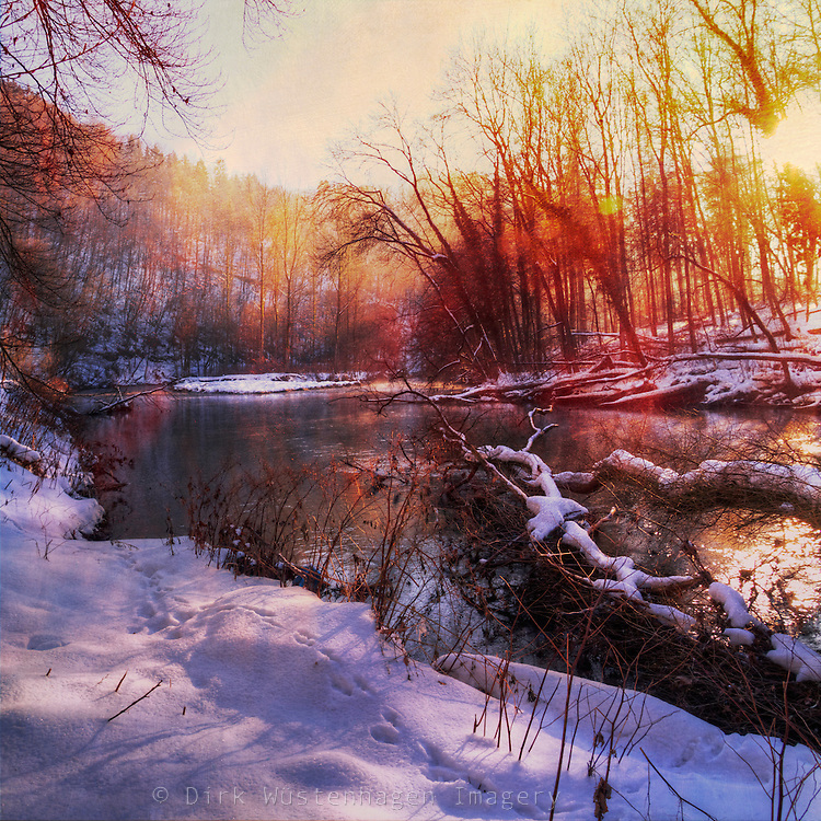 Sunrise on river Wupper on a cold winter morning. Textured photo.<br /> Prints: http://society6.com/DirkWuestenhagenImagery/Winter-Sunrise-t5j_Print