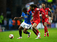 Football - 2021 / 2022  UEFA Europa League - Group A, Round One - Glasgow Rangers vs Lyon - Ibrox stadium - Thursday 16th September 2021<br /> <br /> Alfredo Morelos of Rangers vies with Jason Denayer of Olympique Lyonnais<br /> <br /> Credit: COLORSPORT/Bruce White