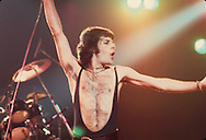 LOS ANGELES, CA - FEBRUARY 25: Freddie Mercury of Queen in concert at The Forum on February 25, 1977 in Los Angeles, California.