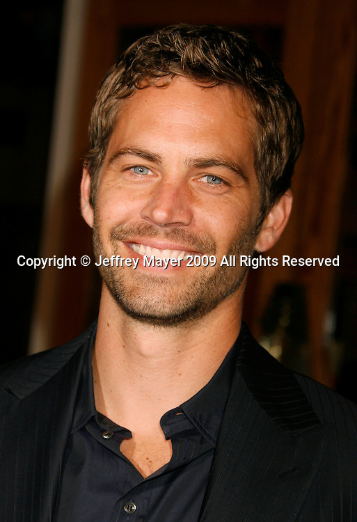 """UNIVERSAL CITY, CA. - March 12: Paul Walker arrives at the Los Angeles premiere of """"Fast & Furious"""" at the Gibson Amphitheatre on March 12, 2009 in Universal City, California."""