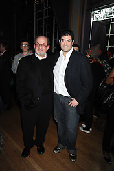 Left to right, SIR SALMAN RUSHDIE and his son ZAFAR RUSHDIE at the launch of Nokia's 'Comes With Music' held at the Bloomsbury Ballroom, 37-63 Bloomsbury Square, London WC1 on 21st October 2008.