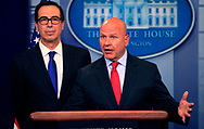 National Security Advisor  General H.R. McMaster  and Treasury Secretary Steve Mnuchin  at a White House press Briefing on July 31, 2017<br />Photo by Dennis Brack