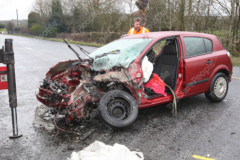 2/2/2008<br />The scene on the N7 on Saturday morning between Roscrea, Co. Tipperary and Borris-on-Ossory , Co. Laois where 4 people were killed and one seriously injured when two cars a Renault and Opel (pictured) were involved in a head on collision.<br />Picture: Liam Burke/Press 22