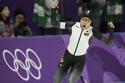 February 18, 2018 - Pyeongchang, South Korea - Nao KODAIRA of Japan celebrates her Olympic World record during the Speed Skating Ladies' 500m at the Gangneung Oval during the 2018 Pyeongchang Winter Olympic Games. (Credit Image: © Daniel A. Anderson via ZUMA Wire)