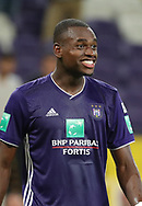 Landry Dimata celebrates after winning the Jupiler Pro League matchday 4 between Rsc Anderlecht and Excel Mouscron on August 17, 2018 in Brussels, Belgium, Photo by Vincent Van Doornick / Isosport/ Pro Shots / ProSportsImages / DPPI