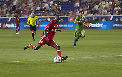 June 13, 2018 - Harrison, New Jersey, United States - Bradley Wright-Phillips (99) of Red Bulls kicks ball during regular MLS game against Seattle Sounders at Red Bull Arena Red Bulls won 2 -1  (Credit Image: © Lev Radin/Pacific Press via ZUMA Wire)