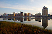 Sunrise at Ishim River, new appartment buildings.