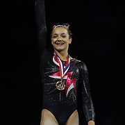 Maggie Nichols, little canada minnesota, during presentations at the Senior Women Competition at The 2013 P&G Gymnastics Championships, USA Gymnastics' National Championships at the XL, Centre, Hartford, Connecticut, USA. 17th August 2013. Photo Tim Clayton