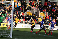 Padraig Amond of Newport county (no9 c) scores his teams 1st goal. EFL Skybet football league two match, Newport county v Exeter City  at Rodney Parade in Newport, South Wales on New Years Day, Monday 1st January 2018.<br /> pic by Andrew Orchard,  Andrew Orchard sports photography.