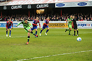 Forest Green Rovers Liam Noble(15) takes a penalty and scores a goal 0-1 during the Vanarama National League first leg play off match between Dagenham and Redbridge and Forest Green Rovers at the London Borough of Barking and Dagenham Stadium, London, England on 4 May 2017. Photo by Shane Healey.