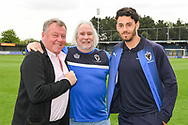 AFC Wimbledon Manager Wally Downes and AFC Wimbledon Defender Will Nightingale (5) ahead of the EFL Sky Bet League 1 match between AFC Wimbledon and Wycombe Wanderers at the Cherry Red Records Stadium, Kingston, England on 27 April 2019.