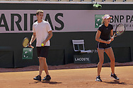 Kristina MLADENOVIC (FRA) and Luka MLADENOVIC (her Brother) during practice ahead of the Roland-Garros 2021, Grand Slam tennis tournament, Qualifying, on May 29, 2021 at Roland-Garros stadium in Paris, France - Photo Nicol Knightman / ProSportsImages / DPPI