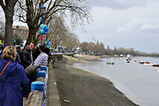Putney, London, General View GV. from Putney Pier looking back at Ptney Hard. 156th University Boat Race  over  the Championship Course,  Putney to Mortlake. on Saturday  03/04/2010 [Mandatory Credit Peter Spurrier/ Intersport Images]