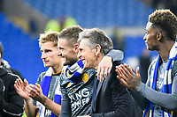Football - 2018 / 2019 Premier League - Cardiff City vs. Leicester City<br /> <br /> Jamie Vardy of Leicester City & Leicester City manager Claude Puelin Leicster's 1st match since the death of Vichai Srivaddhanaprabha, at Cardiff City Stadium.<br /> <br /> COLORSPORT/WINSTON BYNORTH