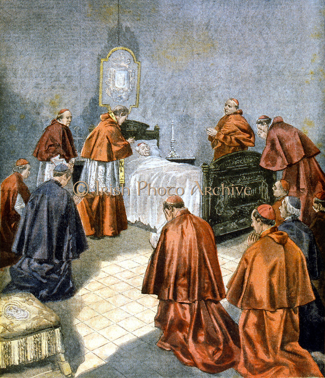 Leo XIII : Vincenzo Giacchino Pecci (1810-1903) Pope from 1878, receiving the last rites on his deathbed. From 'Le Petit Journal', Paris, French weekly paper, 19 July 1903.