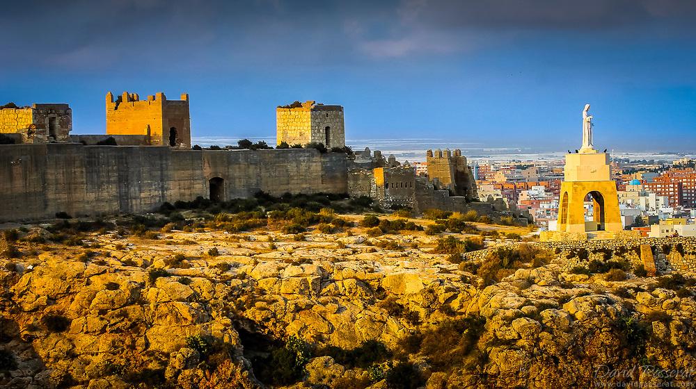 Alcazaba and San Cristobal statue overlooking Almeria.
