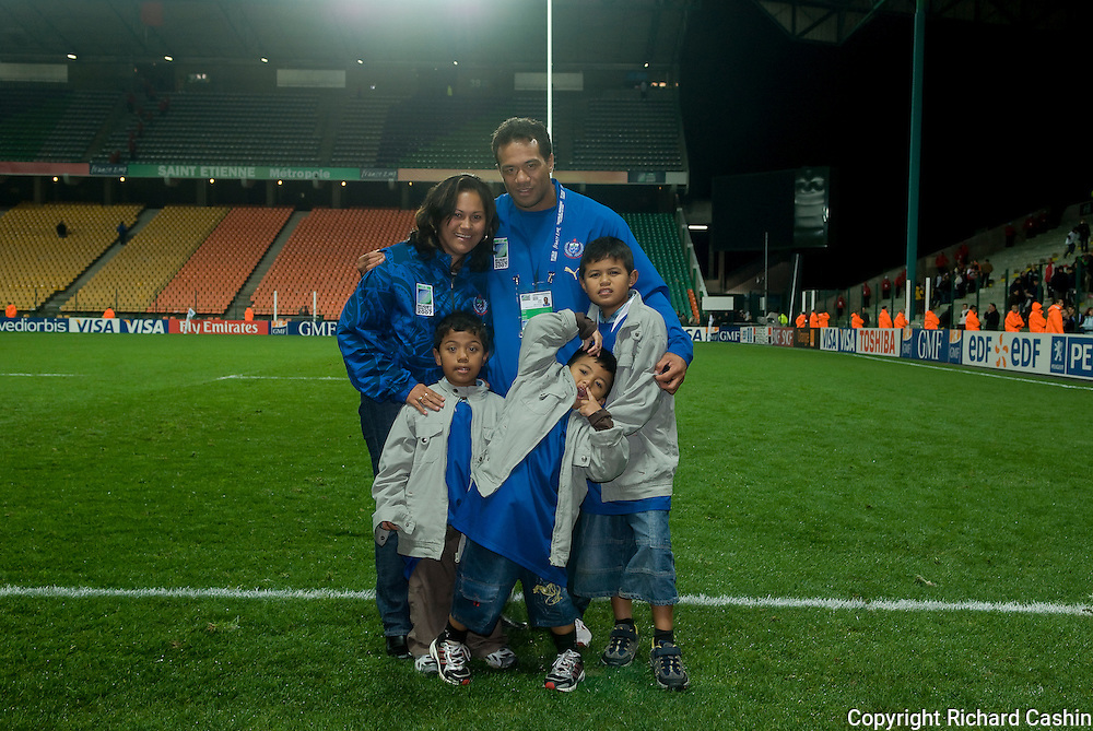 Brian Lima and his family after his last international rugy game at the 2007 Rugby World Cup pool game between Samoa and USA at Stade Geoffroy-Guichard in Saint-Étienne, France