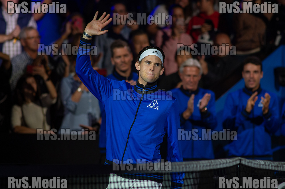 GENEVA, SWITZERLAND - SEPTEMBER 20: Dominic Thiem of Team Europe looks on during Day 1 of the Laver Cup 2019 at Palexpo on September 20, 2019 in Geneva, Switzerland. The Laver Cup will see six players from the rest of the World competing against their counterparts from Europe. Team World is captained by John McEnroe and Team Europe is captained by Bjorn Borg. The tournament runs from September 20-22. (Photo by Monika Majer/RvS.Media)