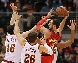 November 30, 2017 - Atlanta, GA, USA - Hawks guard Marco Belinelli draws a triple team from the Cavaliers and passes off during the second half in a NBA basketball game on Thursday, Nov. 30, 2017, in Atlanta. The Cavs beat the Hawks 121-114. (Credit Image: © Curtis Compton/TNS via ZUMA Wire)
