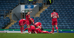 Joe Lolley of Nottingham Forest (Hidden) celebrates after scoring his sides first goal - Mandatory by-line: Jack Phillips/JMP - 17/10/2020 - FOOTBALL - Ewood Park - Blackburn, England - Blackburn Rovers v Nottingham Forest - English Football League Championship