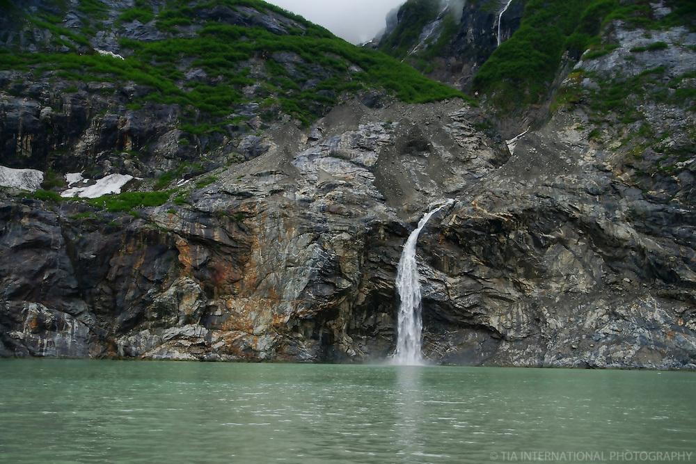 Waterfall & Rocky Terrain, Tracy Arm Fjord