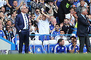 John Terry, the Chelsea captain applauds the fans from the bench as the fans cheer his name. Barclays Premier league match, Chelsea v Leicester city at Stamford Bridge in London on Sunday 15th May 2016.<br /> pic by John Patrick Fletcher, Andrew Orchard sports photography.