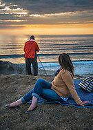 The definition of a 'Photographer Couple' (vs. a couple of photographers) at sunset, San Gregorio State Beach, San Mateo County Coast, California
