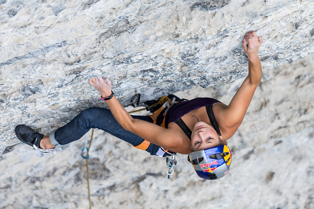 Sasha Digiulian warming up on The Harlot 5.11d, at the Meathooks Wall, Grassi Lakes, Canmore, Alberta