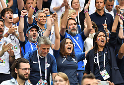 Bruno Solo Nagui, Valerie Begue and Leila Kaddour Boudadi during the FIFA World Cup 2018 Round of 8 match at the Nizhny Novgorod Stadium Russia, on July 6, 2018. . Photo by Christian Liewig/ABACAPRESS.COM