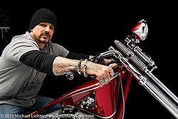 """""""King of Hearts"""", a red shovelhead built from a 1967 Harley-Davidson by Billy Lane of Choppers Inc. in Daytona Beach, FL. Photographed by Michael Lichter at the Nashville Easyriders Show on February 6, 2015. ©2015 Michael Lichter."""