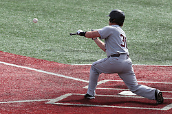 26 April 2014:  Jake Hand works the bunt in front of Mike Hollenbeck and umpire Bret Bruington during an NCAA Division 1 Missouri Valley Conference (MVC) Baseball game between the Southern Illinois Salukis and the Illinois State Redbirds in Duffy Bass Field, Normal IL