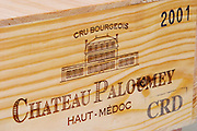 A wooden case of the 2001 vintage Chateau Paloumey Haut-Medoc Ludon Medoc Bordeaux Gironde Aquitaine France