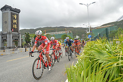 September 24, 2017 - Zhuhai, Guangdong, China - (Left-Right) Raffaello Bonusi and Matteo Malucelli from Androni Sidermec Bottecchia team lead the peloton during the fifth and final stage of the 2017 Tour of China 2, the 91.2km Zhuhai Hengqin Circuit Race. .On Sunday, 24 September 2017, in Hengqin district, Zhuhai City, Guangdong Province, China. (Credit Image: © Artur Widak/NurPhoto via ZUMA Press)