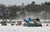 The Modified class races on Meredith Bay Sunday afternoon during the Nostalgic Latchkey Cup.  (Karen Bobotas Photographer)