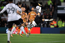 Derby County's Matej Vydra has attempts an acrobatic attempt at goal