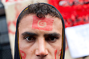Tunis, Tunisia. January 26th 2011.One of the young protesters who spent two nights (in defiance of a curfew) in front of the Prime Minister's office (Mohammed Ghannouchi) on the Kasbah Square. They demand the removal of Mohammed Ghannouchi and members of the ousted president's regime (Zine El Abidine Ben Ali) still in the the government. ...