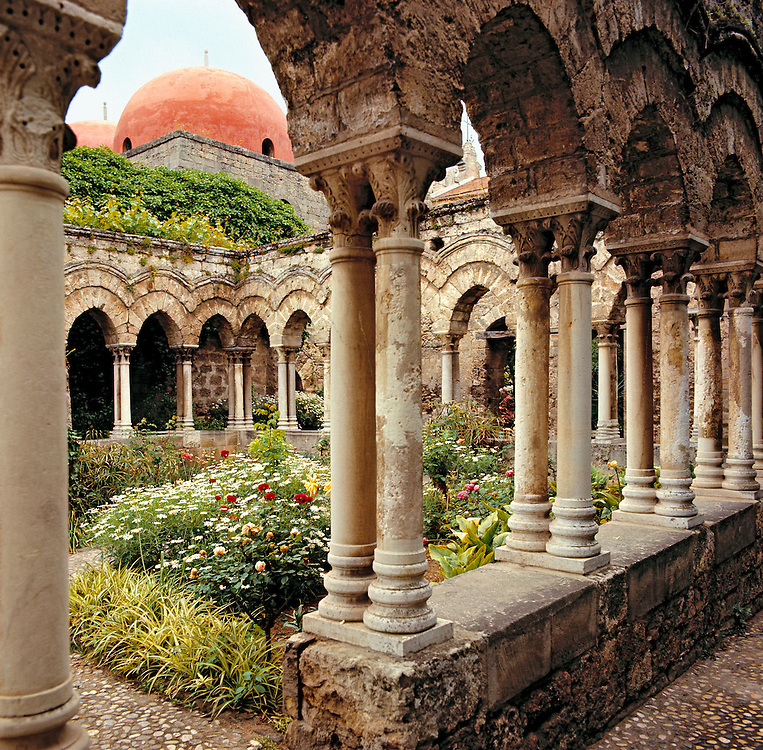 The cloisters survive as elements from the Benedictines at Monreale Monastery in Palermo, Sicily, Italy.