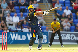 Glamorgan's Craig Meschede hits a boundary<br /> <br /> Photographer Simon King/Replay Images<br /> <br /> Vitality Blast T20 - Round 8 - Glamorgan v Gloucestershire - Friday 3rd August 2018 - Sophia Gardens - Cardiff<br /> <br /> World Copyright © Replay Images . All rights reserved. info@replayimages.co.uk - http://replayimages.co.uk
