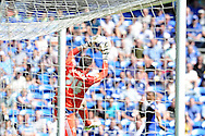 Fulham goalkeeper Andrew Lonergan collides with the post after catching a cross. Skybet football league championship match, Cardiff city v Fulham at the Cardiff city stadium in Cardiff, South Wales on Saturday 8th August  2015.<br /> pic by Carl Robertson, Andrew Orchard sports photography.