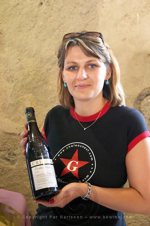 Dominique Grangeon, Cuvee Vieilles Vignes. Domaine de Christia, Chateauneuf-du-Pape. Rhone. Owner winemaker. France Europe. Bottle.