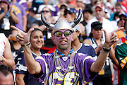 A Minnesota Vikings fan sports face paint and team gear as he poses for a photo during the 2012 NFL Pro Bowl football game between the AFC All-Stars and the NFC All-Stars on Sunday, January 29, 2012 in Honolulu, Hawaii. The AFC won the game 59-41. ©Paul Anthony Spinelli