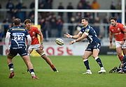 Sale Sharks Mike Phillips throws out a pass during the Aviva Premiership match Sale Sharks -V- Saracens at The AJ Bell Stadium, Salford, Greater Manchester, England on November  20  2016. (Steve Flynn/IOS via AP)