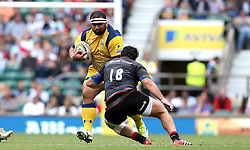 James Johnston of Worcester Warriors is tackled by Juan Figallo of Saracens - Mandatory by-line: Robbie Stephenson/JMP - 03/09/2016 - RUGBY - Twickenham - London, England - Saracens v Worcester Warriors - Aviva Premiership London Double Header
