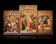 Gothic Catalan altarpiece of, left to right, the martydom of St Bartholomew, Calvaty and the deat of St Mary Magdelene, by Jaume Huguet, Barcelona circa 11465-1480, tempera and gold leaf on for wood, from the church of San Marti de Petegas de san Seloni, Valle Oriental, Spain.  National Museum of Catalan Art, Barcelona, Spain, inv no: MNAC   24365. Against a black background. .<br /> <br /> If you prefer you can also buy from our ALAMY PHOTO LIBRARY  Collection visit : https://www.alamy.com/portfolio/paul-williams-funkystock/gothic-art-antiquities.html  Type -     MANAC    - into the LOWER SEARCH WITHIN GALLERY box. Refine search by adding background colour, place, museum etc<br /> <br /> Visit our MEDIEVAL GOTHIC ART PHOTO COLLECTIONS for more   photos  to download or buy as prints https://funkystock.photoshelter.com/gallery-collection/Medieval-Gothic-Art-Antiquities-Historic-Sites-Pictures-Images-of/C0000gZ8POl_DCqE