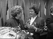 """Irish Laureate Women Of Europe Award. (T10)..1989..17.11.1989..11.17.1989..17th November 1989..Speculation regarding the Irish Laureate for the 1989 Women of Europe Award ended today when the Minister for Education, Ms Mary O'Rourke TD, announced that the Irish Laureate for this year is Grainne Kenny. Founder member of EURAD (Europe Against Drugs), and well known for her work as """"The drugs lady"""" in Ireland, Grainne Kenny has been involved in the fight against drugs since 1980. She helped form CAD, Community Action and Drugs and later EURAD. EURAD is has the active co-operation of both the European Commission and Parliament...Picture shows Ms Grainne Kenny being congratulated, on her achievement in winning the award,by Minister for Education,Mary O'Rourke TD."""