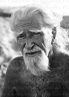 George Adamson, wildlife conservationist is seen at his African home and conservation project in Kora,Kenya,East Africa. 1987.Photographed by Terry Fincher
