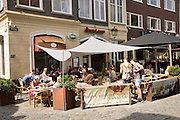 Cafe bar tables outside central Utrecht, Netherlands