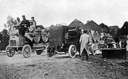 French army motorised trucks fitted with tanks for carrying drinking water, c1914.