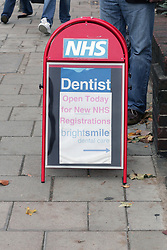 NHS dentist sign in the street UK